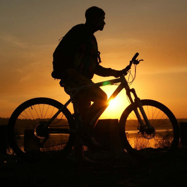 Biker at sunset